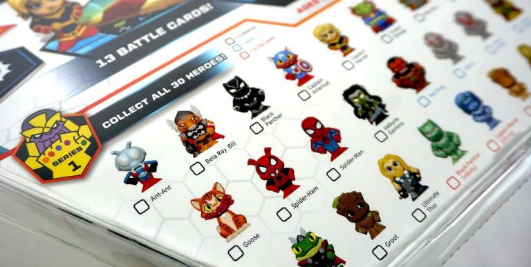 Series 1: Collect all 30 heroes! Ant-Ant, Beta Ray Bill, Black Panther, Captain Americat... Goose, Spider-Ham, Spider-Man... Groot, Ultimate Thor...