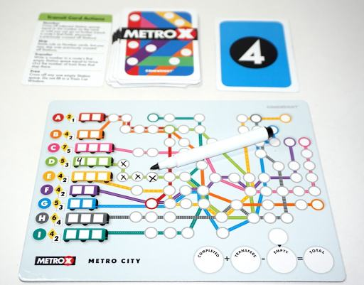 Marker and four Xs on the D line of Metro X's Metro City board