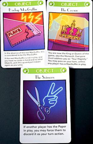 Object cards: Backup MacGuffin, The Crown, The Scissors