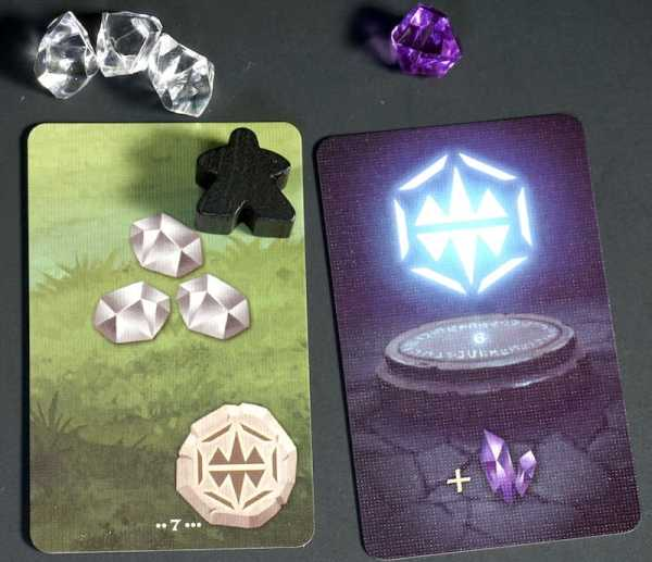 Wilderness card: collect 3 colorless. Rune card with matching rune: add 1 purple crystal.