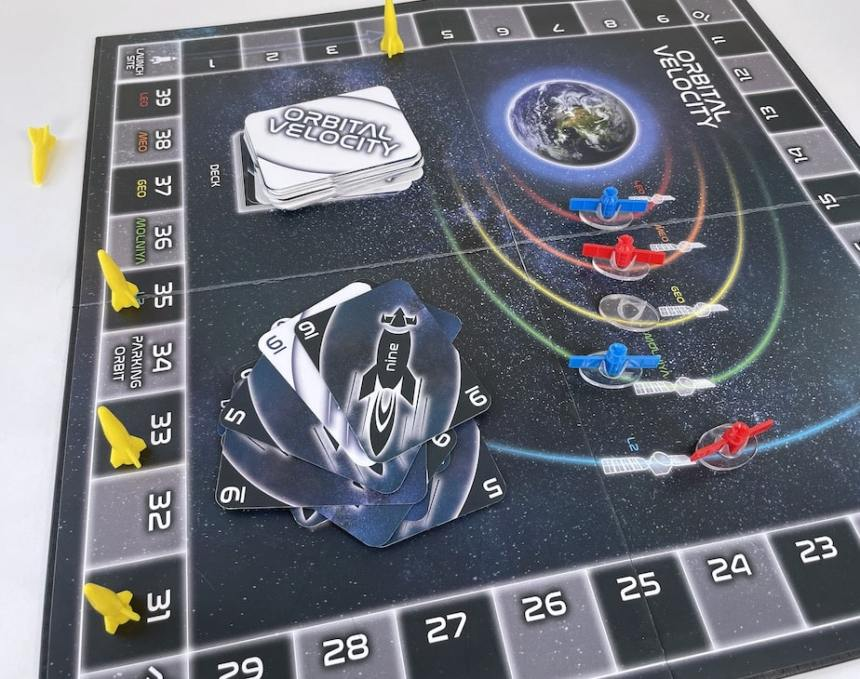 A finished game of Orbital Velocity.