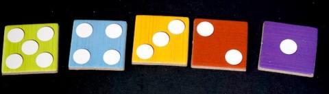 Poetry Slam speed tiles: numbered 5, 4, 3, 2, 1.
