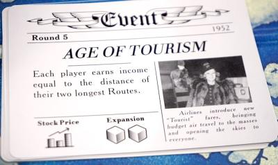 Age of Tourism: Each player earns income equal to the distance of their two longest Routes.