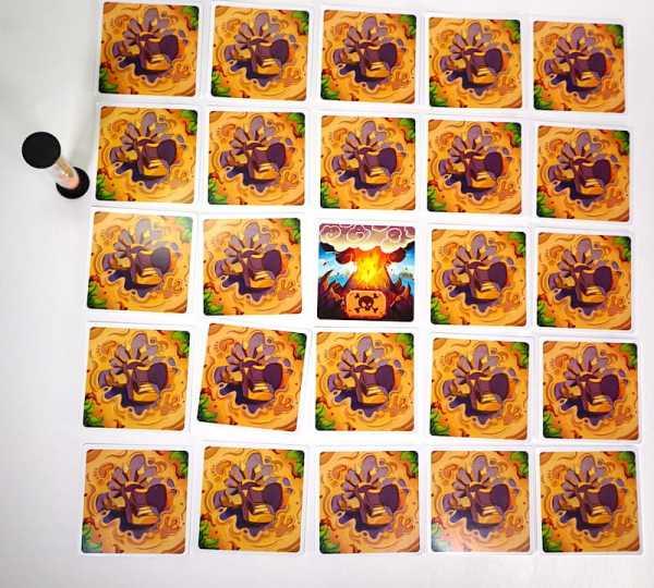 Panic Island setup: a 5x5 grid of cards