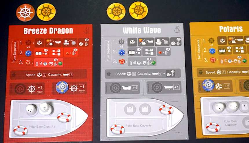 Ship boards: Breeze Dragon, White Wave, Polaris. Breeze Dragon has a red action token and a yellow action token, and has passed 2 yellow action tokens to White Wave.
