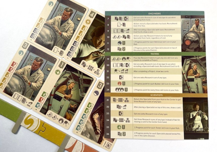 Space Explorers player aid, with sections for Engineers, Testers, and Scientists.