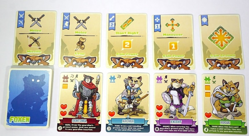 Foxen cards from Skulk Hollow: top row is actions, bottom row is heroes (Sentinel, Archer, Knight, Rogue)