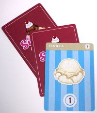 Vanilla ice cream and two mystery cards