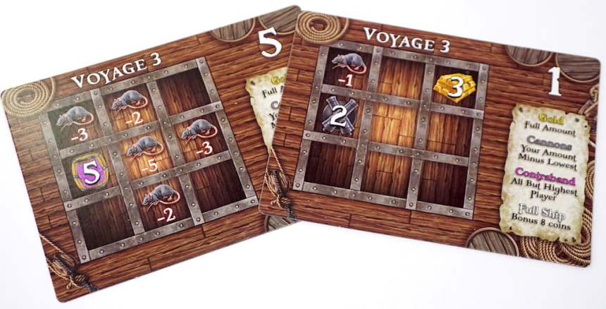 Hold 5 has 5 rats, valued from -2 to -5, and a contraband square valued 5. Hold 1 has a single rat, a gold square and a cannon square.