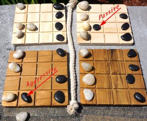 passive move (black stone moves diagonally not touching anything); Agressive move (black stone moves diagonally, pushing white stone off the board)