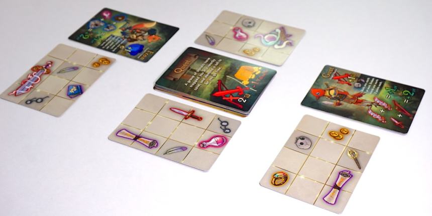 """Squire for Hire setup - one player has """"Fran"""" and an inventory card with sword, feather, glasses, coins, and book. Other player has """"Gust"""" and an inventory card with ring, skull, coins, scroll, and torch. In between is a Quest card and two more inventory cards."""