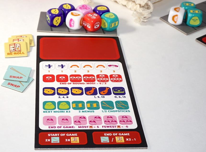 Sushi Roll dice, tray, and conveyor belt