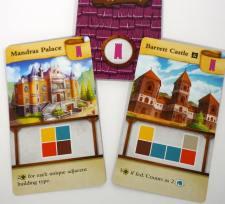Mandras Palace: 2 for each unique adjacent building type. Barrett Castle: 5 if fed. Counts as 2 cottages.