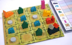 Filled Tiny Towns board and scorepad