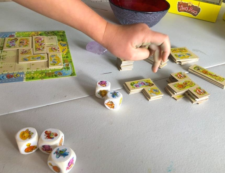 Tiny Park dice and tiles