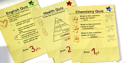 Trapper Keeper Game: English Quiz, Health Quiz, Chemistry Quiz