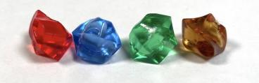 four gems: red, blue, green, brown