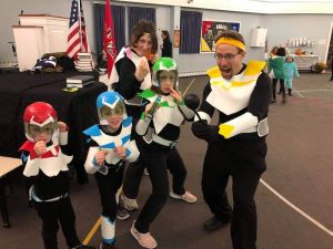 Smith family dressed up as Paladins of Voltron