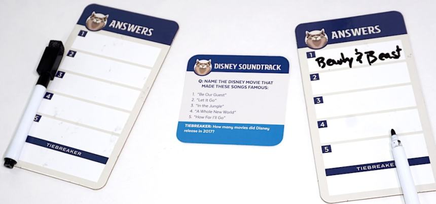 """Answer boards with question card """"Disney Soundtrack"""""""