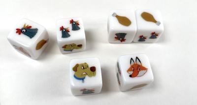 Winner Winner Chicken Dinner dice. Clockwise from top left: single chicken head, double chicken head, single drumstick, single drumstick, fox head, dog head.