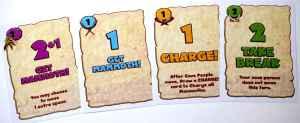 "Cards: Purple 2+1, Blue 1, Orange 1, Green 2 with ""take break"""