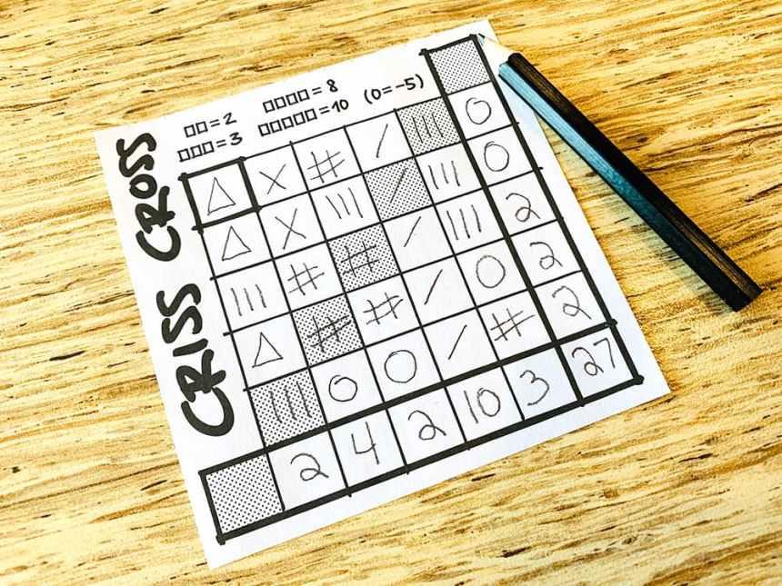 Criss Cross score sheet