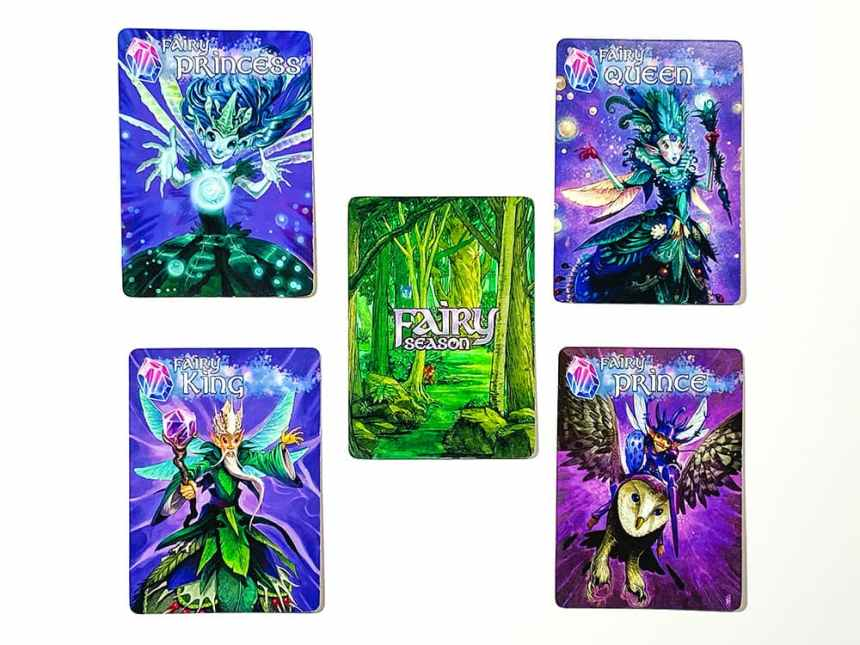 Fairy Season royal cards, clockwise from top left: Fairy Princess, Fairy Queen, Fairy Prince, Fairy King