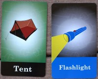 Filler cards: tent, flashlight