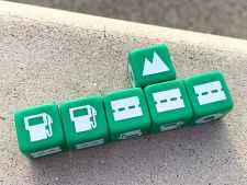 2 gas station dice followed by 3 road dice with a landmark placed