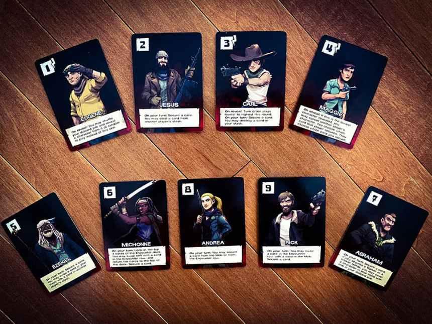 Character cards: Eugene; Jesus; Carl; Maggie; Ezekiel; Michonne; Andrea; Rick; Abraham.