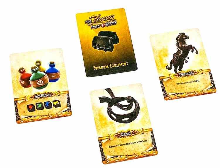 The Zorro Dice Game Premium Equipment: Antidote, Mask, Tornado
