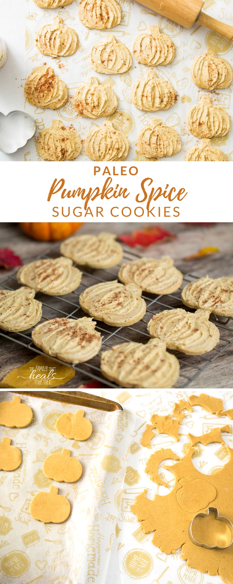 Paleo sugar cookies get a makeover with these pumpkin spice cookies! Still easy; still delicious; still paleo! No gluten, grains, dairy, or refined sugars.