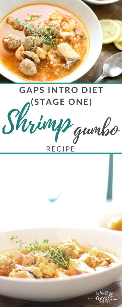 Shrimp Gumbo Recipe for the GAPS Intro Diet (Stage One & Beyond) +dairy free +gluten free + grain free + Suitable for GAPS Diet + Paleo + Primal + Keto from The Family That Heals Together