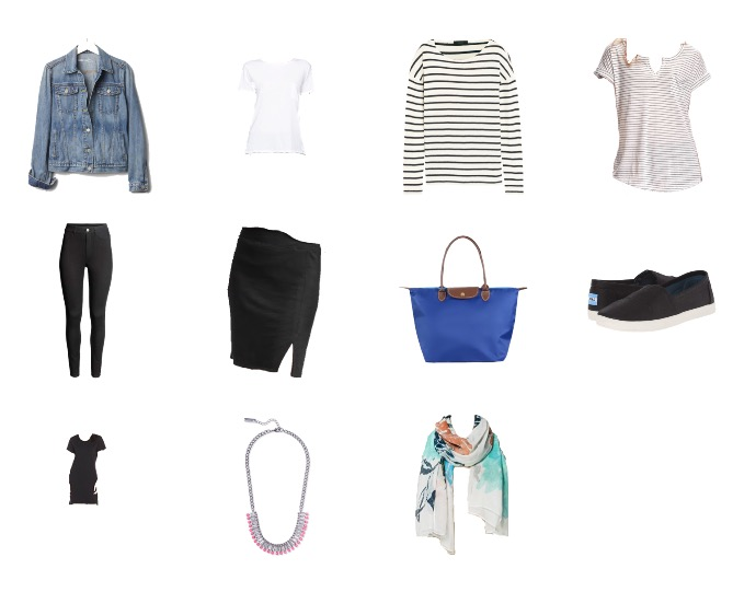 Sample travel capsule wardrobe for Paris