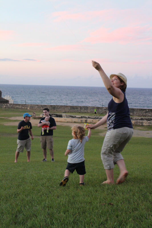 flying kites at San Juan National Historic Site