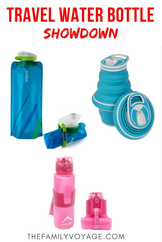 What's the best travel water bottle? Check out our gear recommendation for hands-on testing of the top contenders: Vapur Element, Monument and Hydaway #travel #gear #hiking