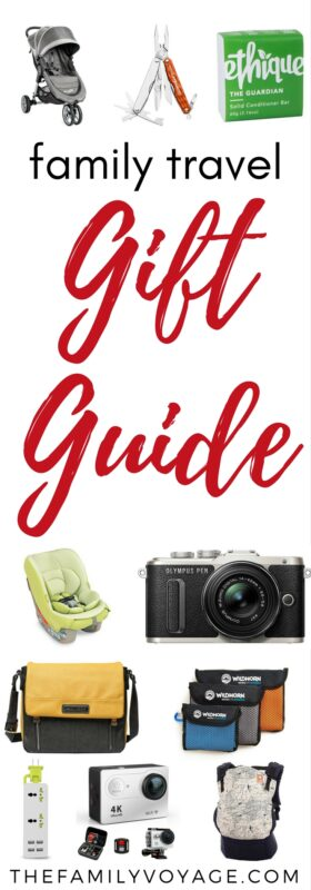When you're looking for just the right gift for your family and friends who travel, click to read our suggestions. You'll find presents for all budgets and for everyone in the family! #travel #travelgear #giftguide #familytravel #gear