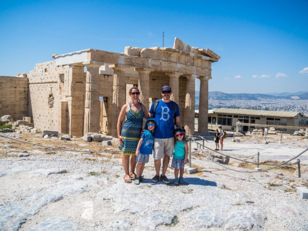 Visiting the Acropolis in Athens, Greece with kids