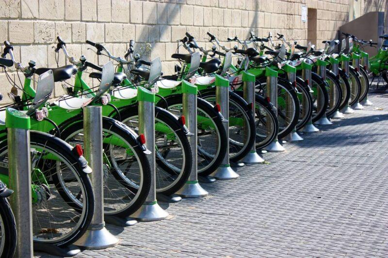 Rack of green bikes for bike sharing in Israel. #Israel #bikes #TelAviv