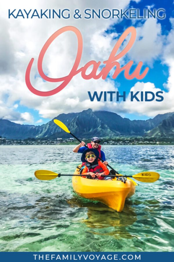 Do you want to try kayaking and snorkeling with kids in Hawaii but you're not sure where to start? Check out Holokai Adventures' Kaneohe Bay kayak tour! #Oahu #Hawaii #familytravel #travel #kayaking #snorkeling #WindwardCoast