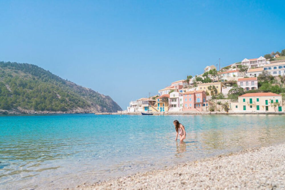 On the beach in Kefalonia (Cephalonia) - one of the best Greek islands for families