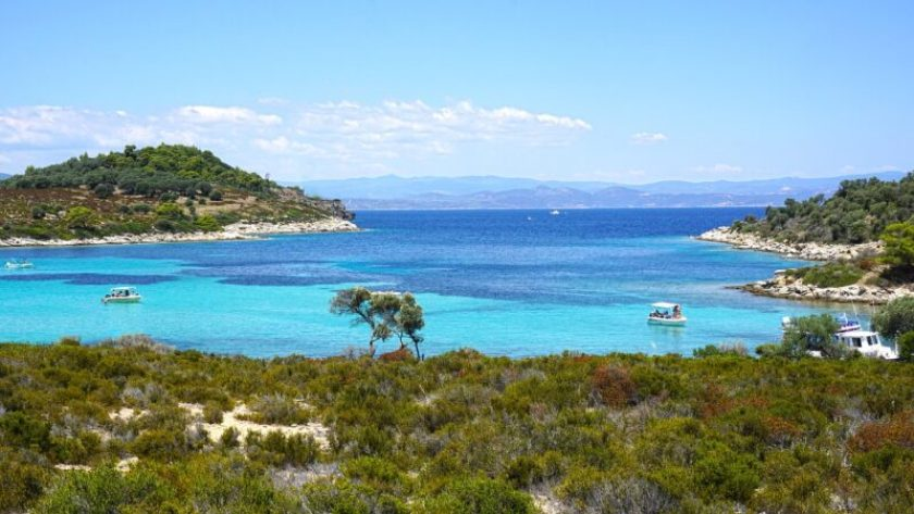 Cove in Sithonia, Greece with kids