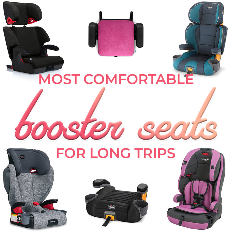 Want to avoid complaints on family road trips? Get your child a comfortable car seat! We've owned dozens of car seats over the years and in this guide you'll find out what makes some better than others. You'll find all the best travel car seats for road trips with kids you're ready to forward facing - all the way until their done with booster seats. #familytravel #travel #carseat #boosterseat #travelwithkids #roadtrip