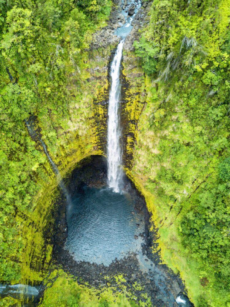 Towering Akaka Falls on Big Island, Hawaii from above.