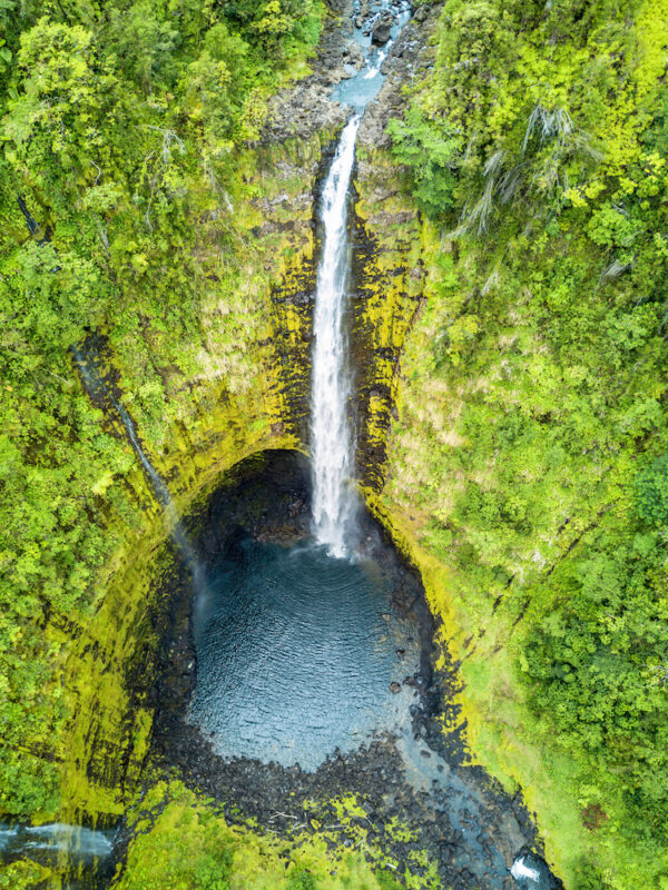 Towering Akaka Falls on Big Island, Hawaii from above.