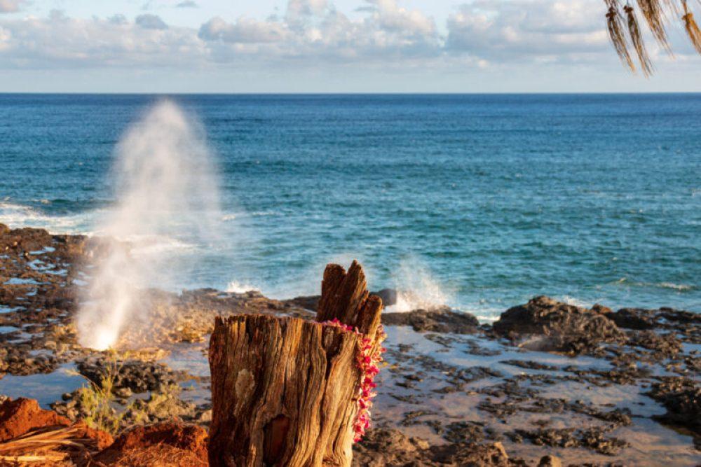 Famous Spouting Horn on the hawaiian island of Kauai, USA on a sunny afternoon