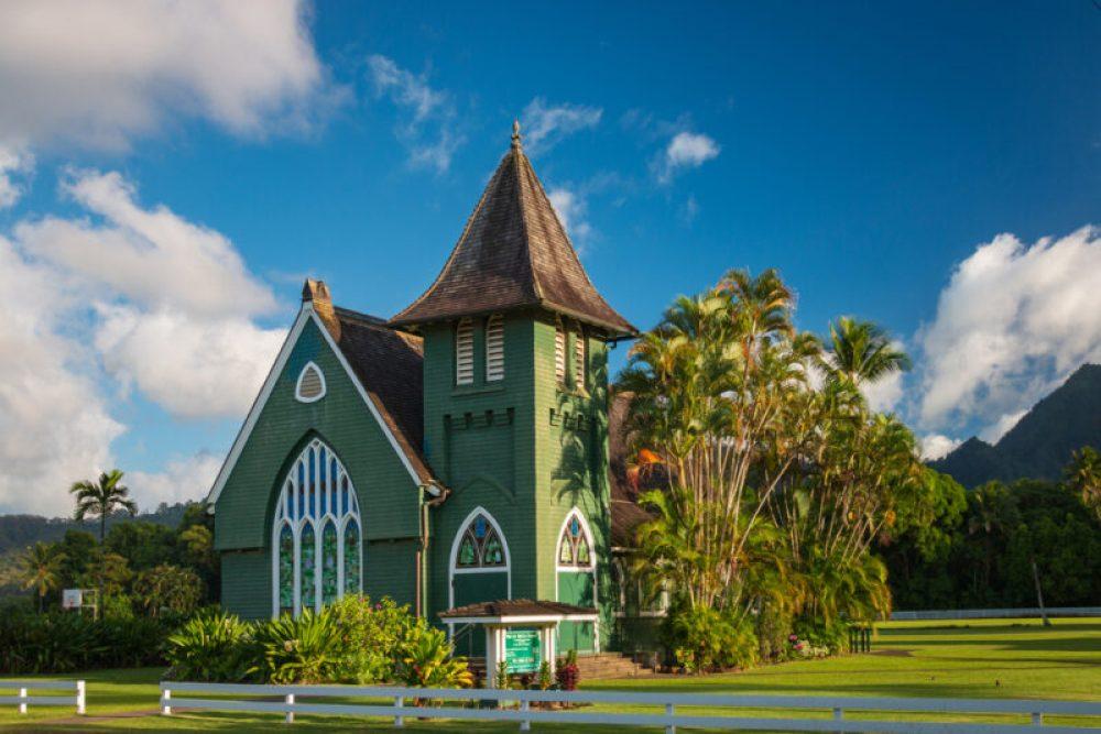 Beautiful Waioli Huiia Church in Hanalei on the Hawaiian island of Kauai, USA