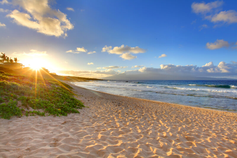 sunset at Oneloa Beach, Maui, Hawaii
