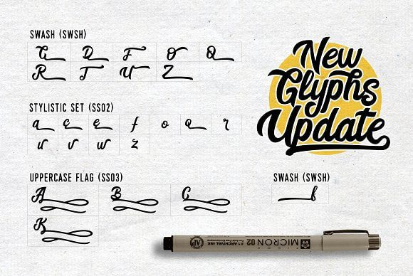 Best Selling Gorgeous Fonts glyphs-update-