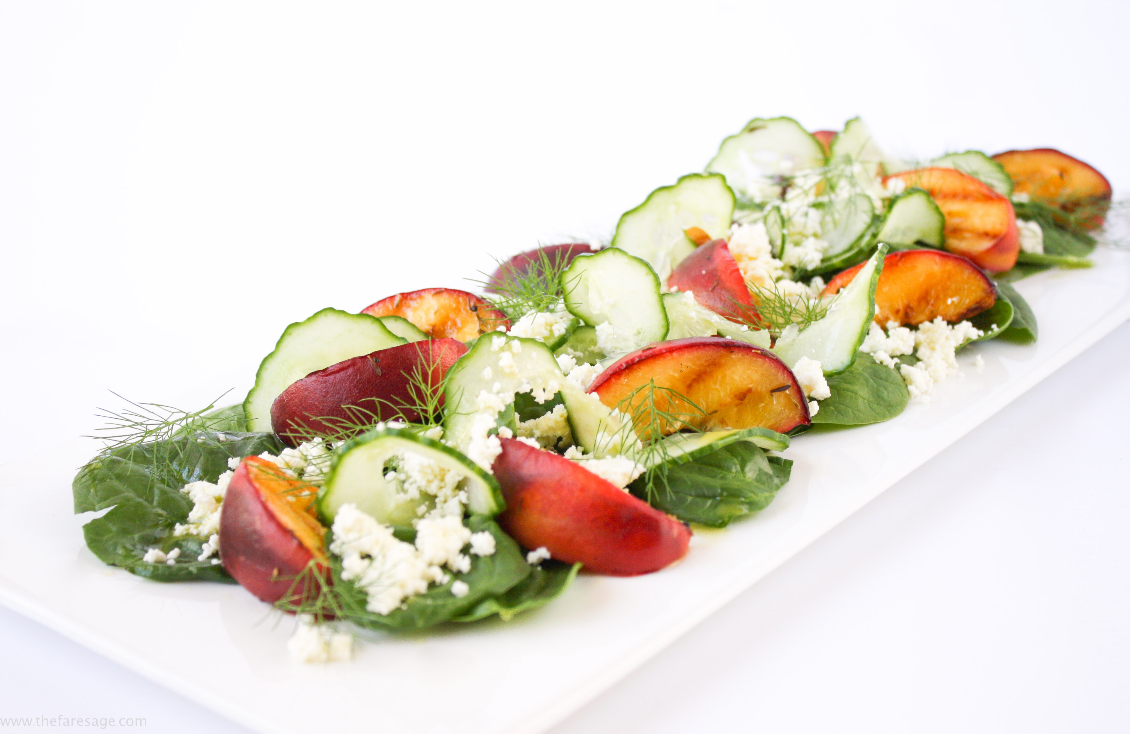 Grilled peach, ricotta and fennel salad
